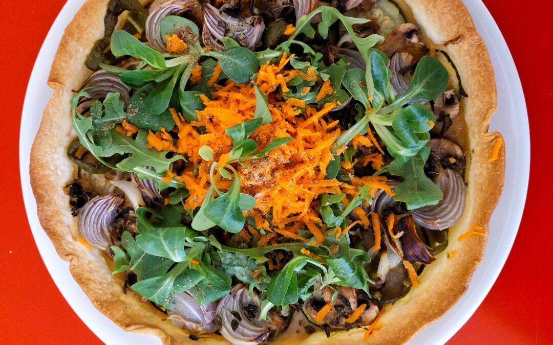Pasta brisa amb verdures al forn i verdures fresques-Sopar
