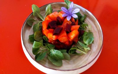 Tomata, préssec de vinya i remolatxa sobre llit d'enciam i anxovetes-dinar