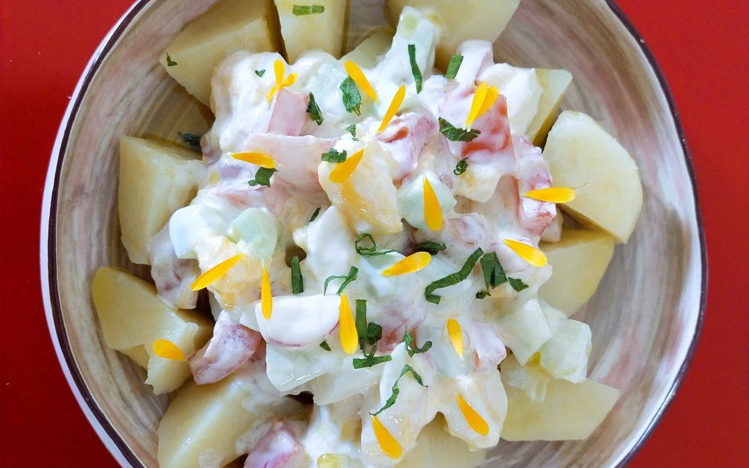 Amanida de patata, cogombre i altres verdures amb iogurt i sardines al forn-dinar