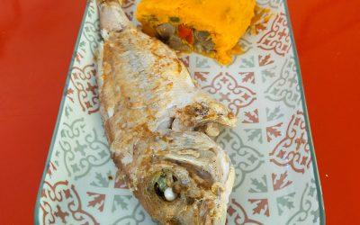 Braç de gitano de moniato farcit de xamfaina i peix-Dinar